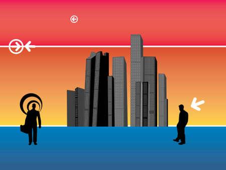 men beside skyscrapers on gradient background     photo