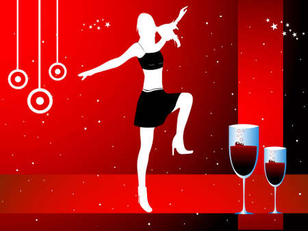 excitement: dancer with glasses on dotted background