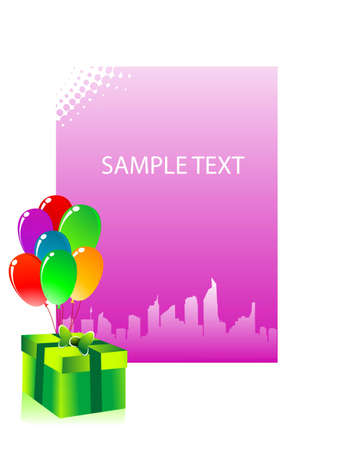 excitement: gift and balloons on sample text