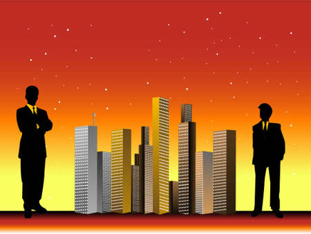 men and buildings on dotted gradient background   photo