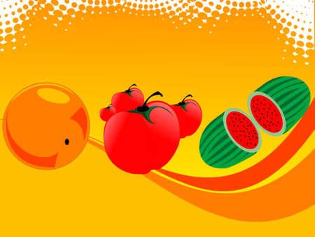 fresh fruits on gradient background   photo