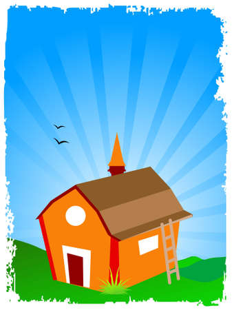 colourful hut on sunburst background         photo