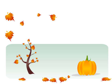 tree and pumpkin on text template