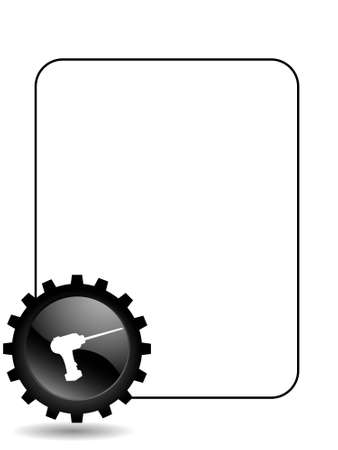 driller in cogwheel on text template       photo