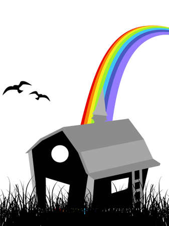 hut with rainbow on isolated background       photo