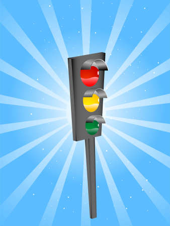backgroud: traffic signal on sunburst backgroud