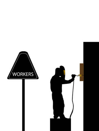 worker welding on isolated background   photo