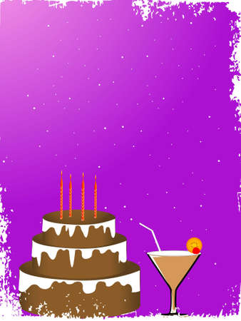 cake and glass on gradient background   photo