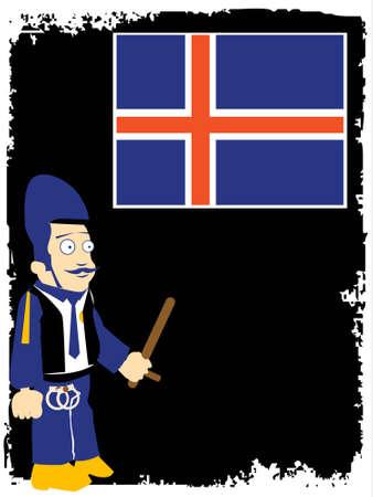flag of iceland: polic�a y islandia bandera en fondo oscuro