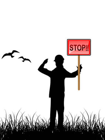 man with stop sign on natural background   photo