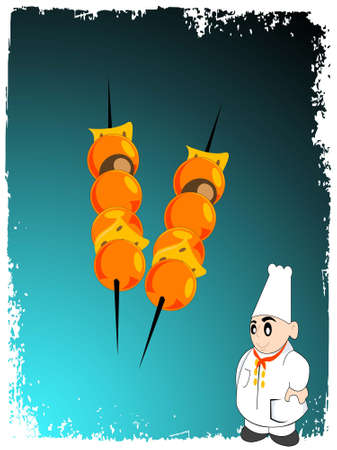 kabab: kabab and chef on gradient background