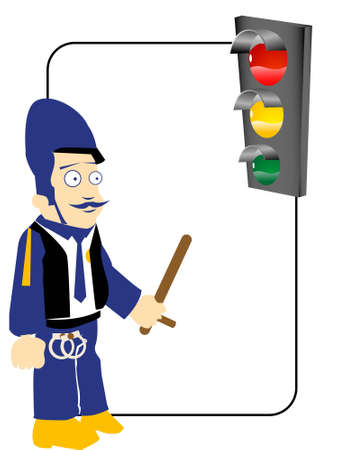 traffic police near signal on text template Stock Photo - 3306817
