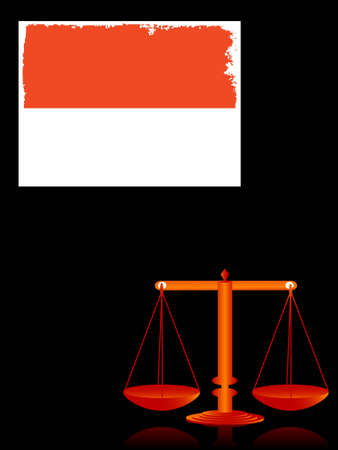 balance and indonesia flag on dark background   photo