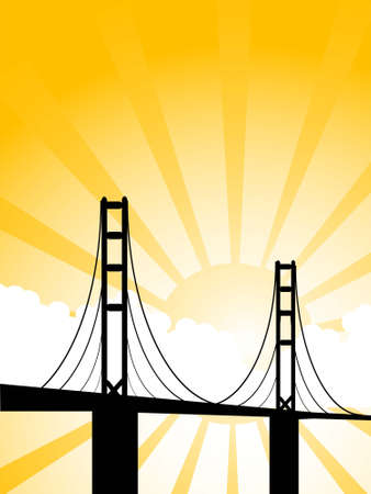 suspension bridge: suspension bridge and clouds on sunburst background