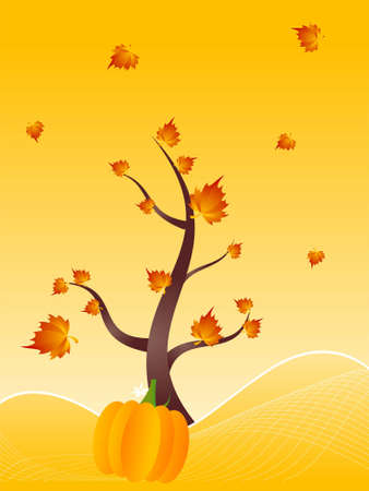 maple tree and pumpkin on gradient background   photo