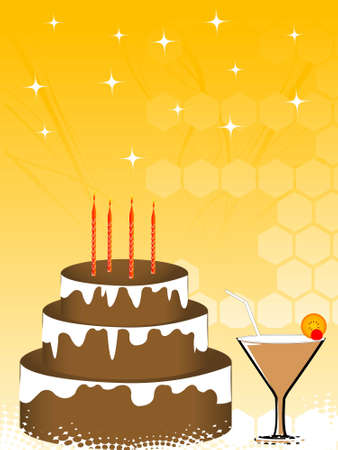 cake and drink on hexagonal background   photo
