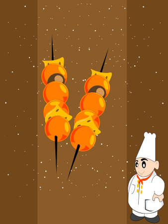 kabab: cook with kabab on dotted background