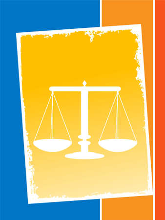 courtroom: justice balance on rectangular background       Stock Photo