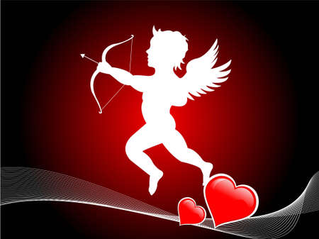 cupid with bow and arrow on gradient backgroundrn photo