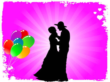 dancing couple and balloons in grungy frame       photo