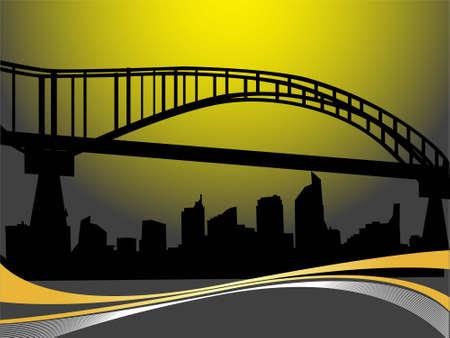 railings: bridge way near townscape