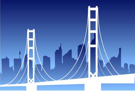 suspension bridge: suspension bridge on cityscape on gradient background   Stock Photo