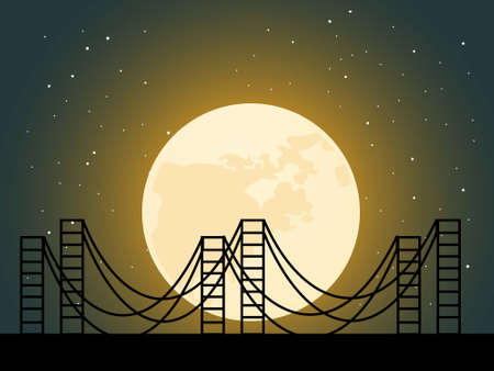 suspension bridge: suspension bridge at night   Stock Photo