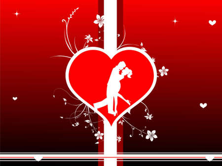 romantic couple  in heart on gradient background   photo