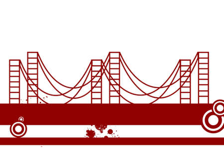 suspension bridge: suspension bridge with grunge on isolated background