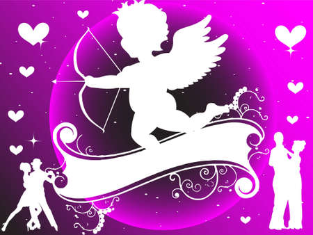 cherub and lovers on gradient background       photo