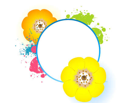 flower and text template on isolated background   photo