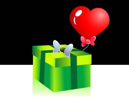 regalo con arco y el corazón en forma de globo \ r \ n  Foto de archivo - 3310779