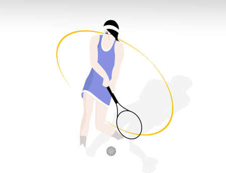 racquet: lady with racquet and tennis ball on isloated background
