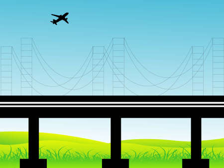 suspension bridge: aeroplane above suspension bridge