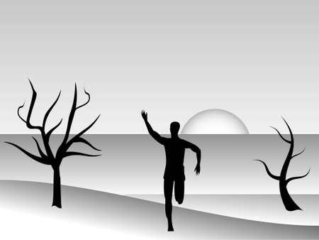 runner on landscape on gradient background     photo