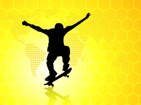 skater and man on world map background   photo