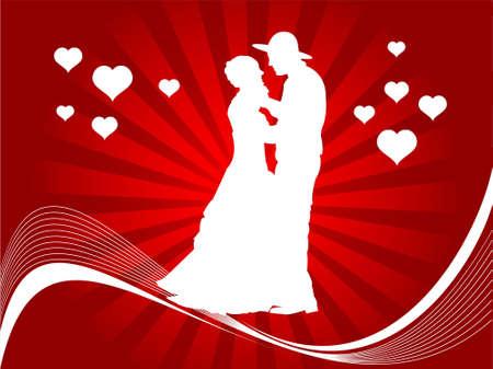 couple making love on swirly sunburst background     photo