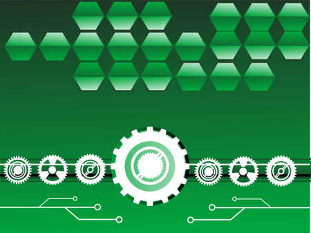 cogs with circuits on gradient background Stock Photo - 3311029