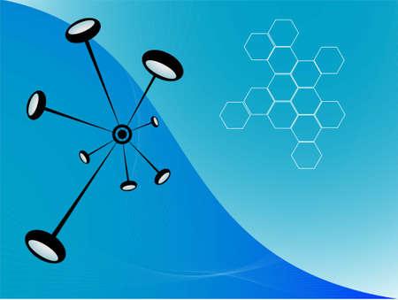 molecules in bond on bicolor background