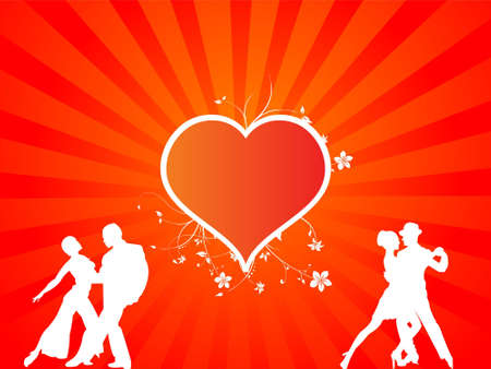 lovers and floral heart on sunburst background     photo