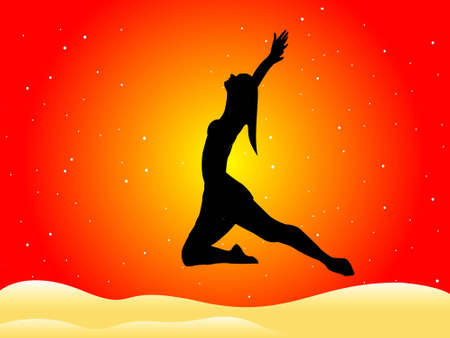 lady doing aerobics on gradient background   photo