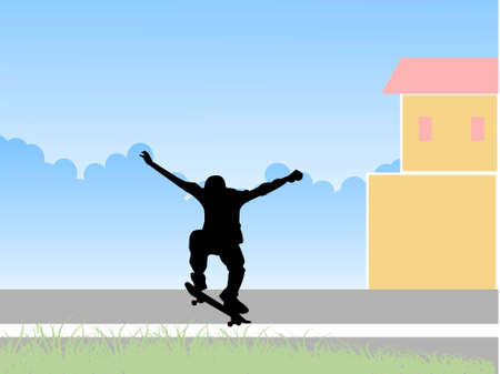 townscape: skater on townscape with clouds     Stock Photo