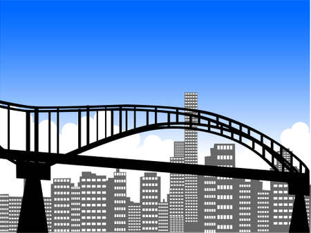 bridge with skyscapers and clouds   photo