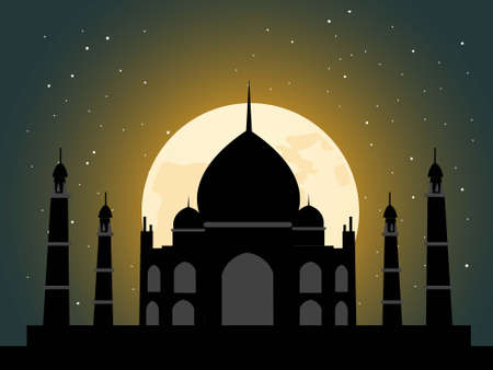 taj: tajmahal in light of moon in night scene   Stock Photo