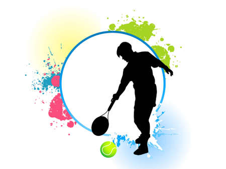 squash: male and tennis with grunge   Stock Photo