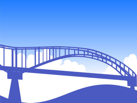 arched: firm arched bridge and clouds