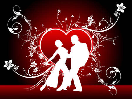 couple and floral heart on gradient background   Stock Photo