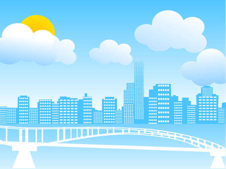 arched: city with arched bridge on cloudy weather     Stock Photo