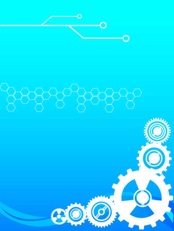 cogwheels and circuit on gradient background