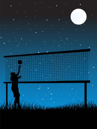woman playing volley ball at night   photo